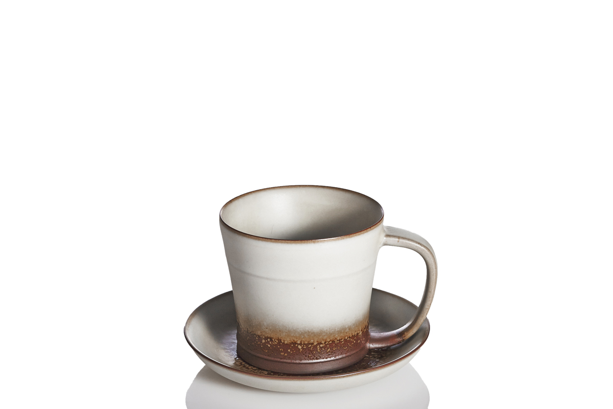 Past-Time-Tea-Coffee-Cup-with-Saucer-Oil-spot-White-Glaze